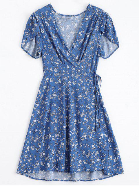 Vestido Envuelto con Cuello en V de Flor Minúsculo - Azul L Mobile