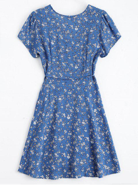 Robe Enveloppante à Petites Fleurs à Col Plongeant - Bleu L Mobile