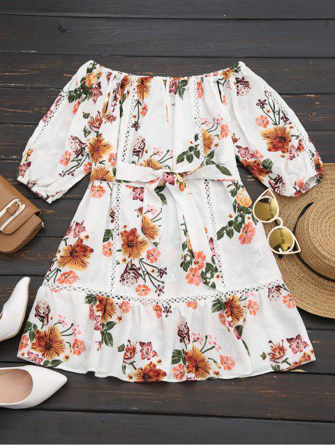 buy Ruffled Off Shoulder Belted Floral Dress - WHITE S Mobile