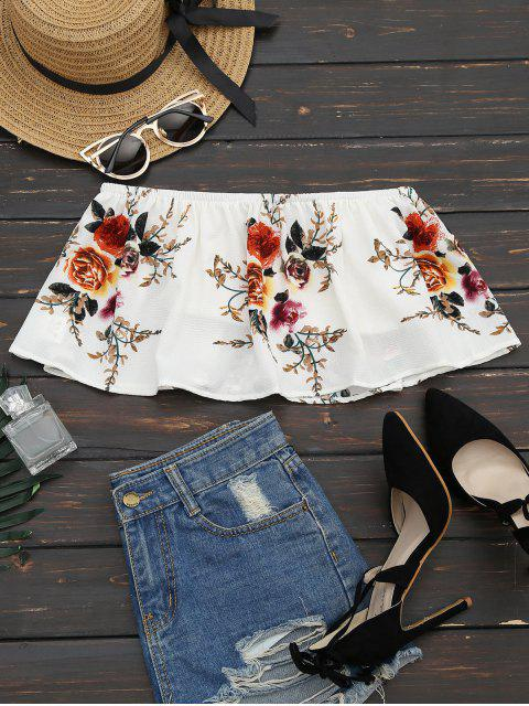 outfit Smocked Ruffles Floral Cropped Tube Top - WHITE S Mobile