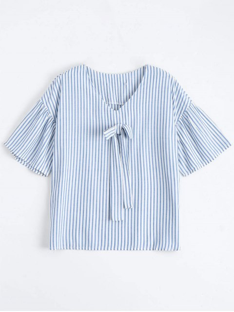 latest Loose Stripes Bowknot Top - STRIPE S Mobile
