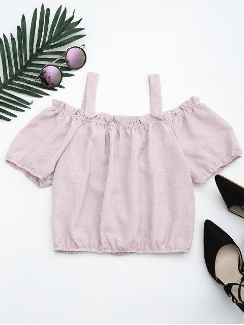 fancy Ruffles Embroidered Cold Shoulder Top - LIGHT PURPLE M Mobile