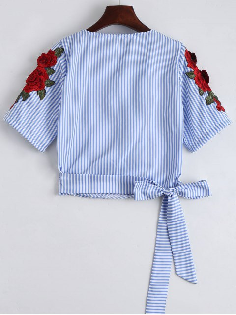 women's Stripes Floral Embroidered Patched Wrap Top - STRIPE S Mobile
