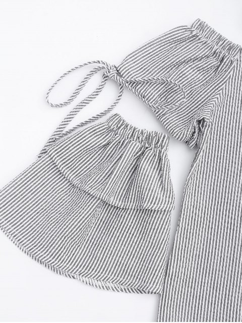 outfits Button Up Stripes Off Shoulder Top - WHITE AND BLACK L Mobile