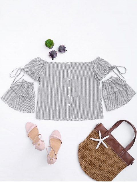 shop Button Up Stripes Off Shoulder Top - WHITE AND BLACK M Mobile