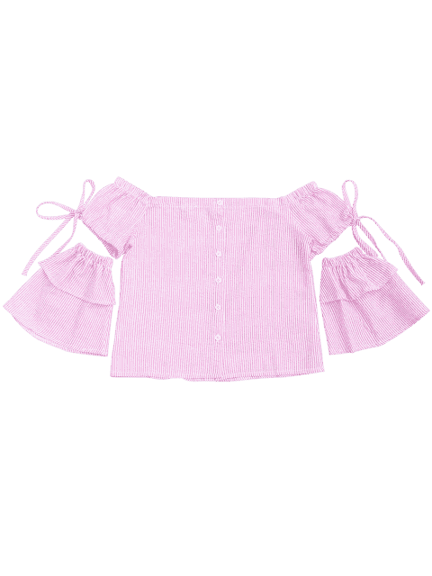 trendy Button Up Stripes Off Shoulder Top - PINK STRIPE M Mobile