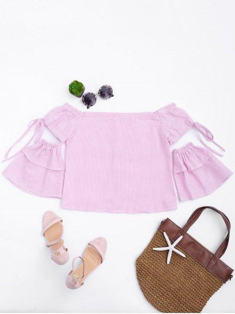 Top rose à l'épaule avec des boutons  et des manche de patchwork - Rose Bande S Mobile