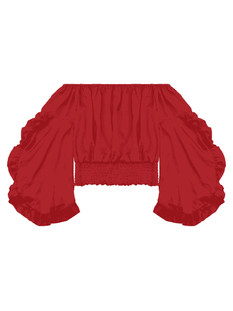 online Ruffled Off Shoulder Smocked Blouse - RED L Mobile