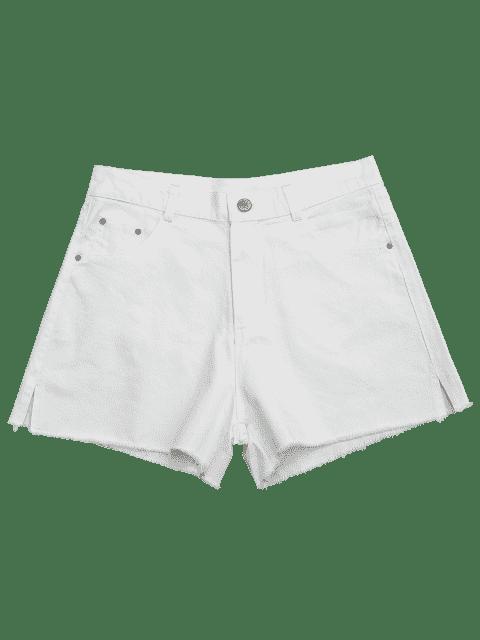 Shorts denim coupe coupure latérale - Blanc 38 Mobile