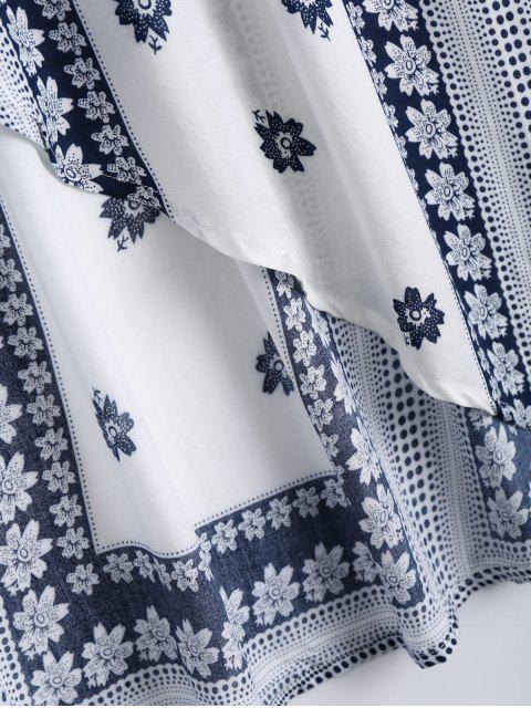 shop Off Shoulder Smocked Printed Front Slit Maxi Dress - WHITE L Mobile