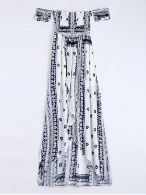 Maxi Vestido de Tubo de Bata con Abertura Frontal con Estampado - Blanco L Mobile