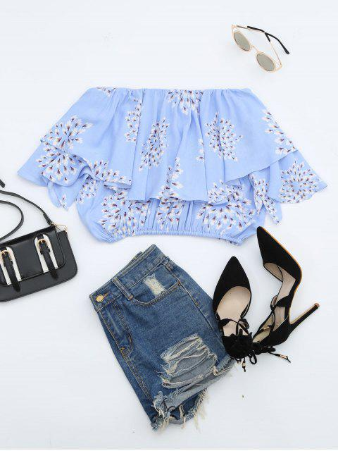 chic Flower Off Shoulder Overlay Cropped Blouse - LIGHT BLUE L Mobile