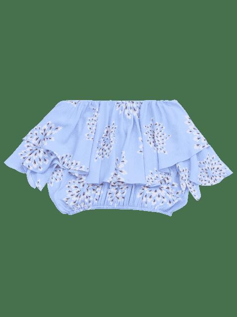 chic Flower Off Shoulder Overlay Cropped Blouse - LIGHT BLUE L Mobile