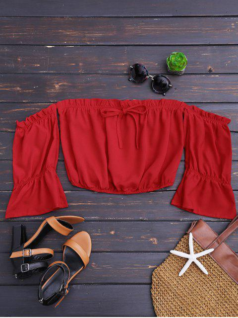 Ruffles String Off Top de hombros - Rojo M Mobile