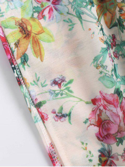 affordable Off Shoulder Side Slit Smocked Floral Maxi Dress - FLORAL L Mobile