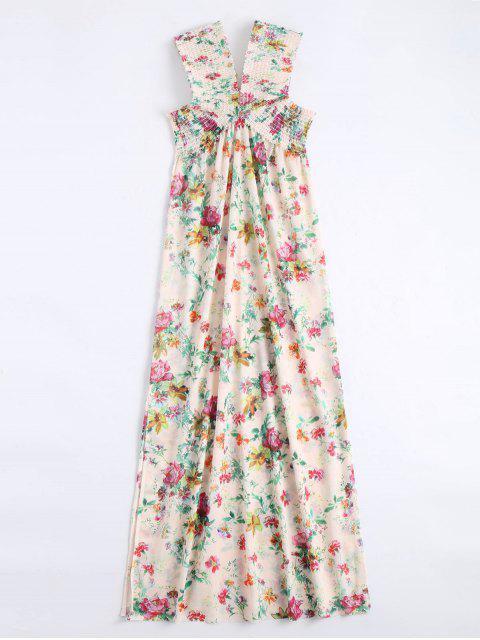 Robe Maxi Florale Smockée Épaules Dénudées Fente Latérale - Floral L Mobile