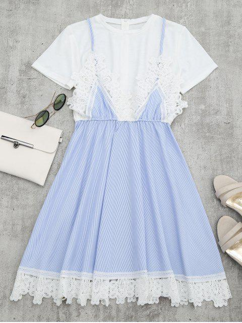 womens Lace Panel Striped Faux Twin Set Dress - LIGHT BLUE M Mobile