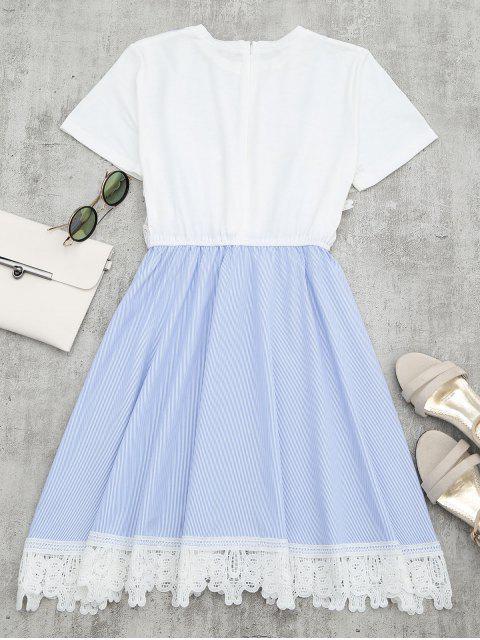 women Lace Panel Striped Faux Twin Set Dress - LIGHT BLUE L Mobile