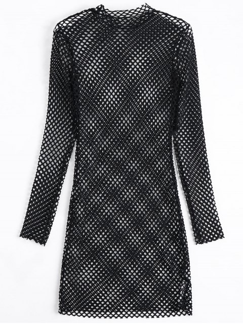 ladies Long Sleeve Sheer Bodycon Dress - BLACK M Mobile
