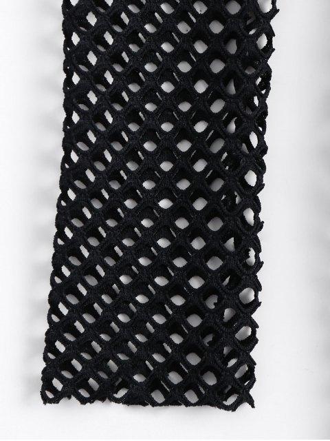lady Long Sleeve Sheer Bodycon Dress - BLACK S Mobile
