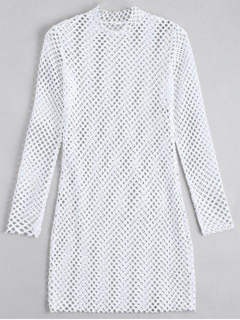 Vestido Ceñido Trasparente con Manga Larga - Blanco M Mobile