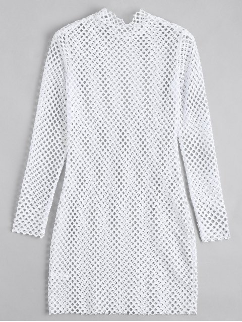 online Long Sleeve Sheer Bodycon Dress - WHITE S Mobile