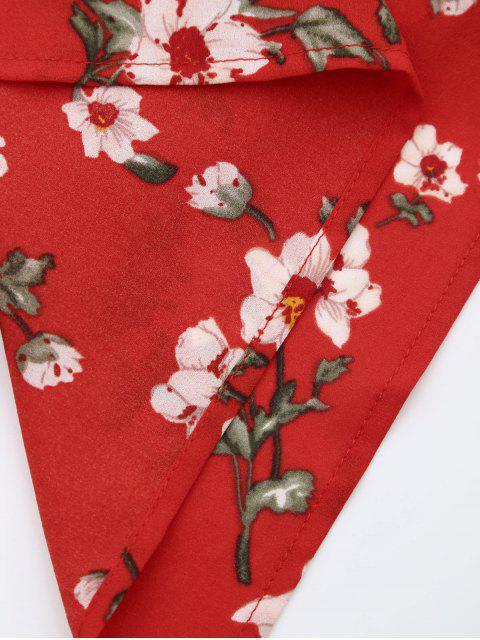 unique Ruffles Halter Floral Asymmetric Romper - RED L Mobile
