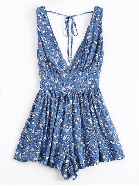 Pequeño chaleco de cuello plomoso floral Smocked - Azul M Mobile