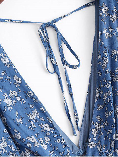 Combishorts à col plongeant imprimés de motif floral - Bleu L Mobile