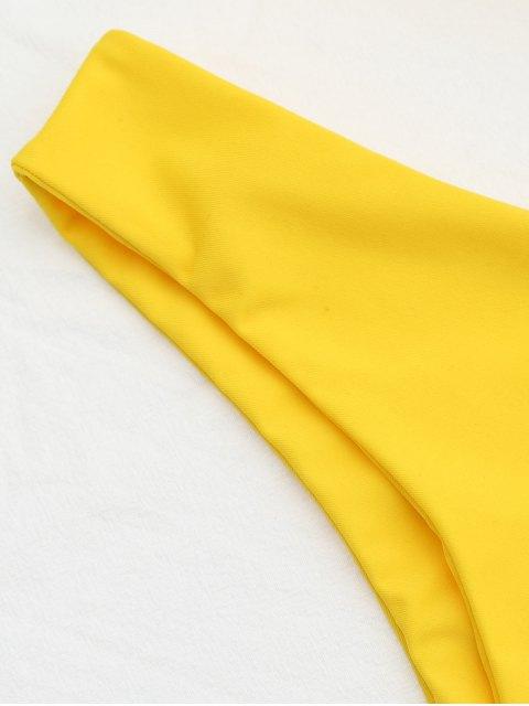 fancy Wide Straps Padded Square Cut Bikini Set - YELLOW L Mobile