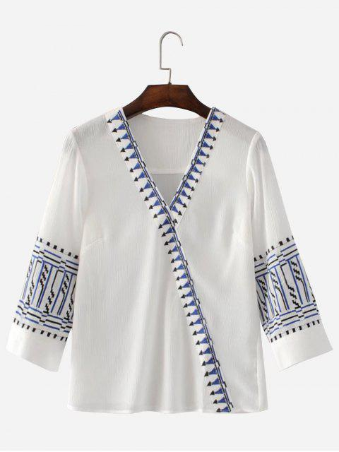 Blusa de cuello en V bordado - Blanco L Mobile
