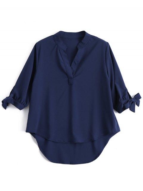 Camisa de manga alta de la manga de la pajarita - Azul Purpúreo Única Talla Mobile
