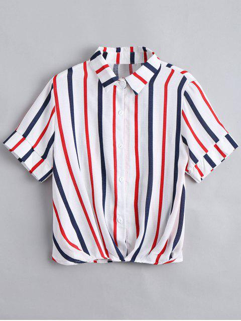 lady Button Down Loose Stripes Shirt - RED ONE SIZE Mobile