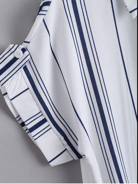 womens Button Down Stripes Bowknot Top - STRIPE ONE SIZE Mobile