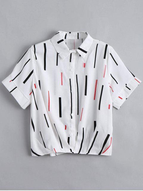 women's Button Down Vertical Print Top - WHITE ONE SIZE Mobile