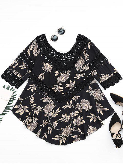Blusa asimétrica de panel de crochet de impresión floral - Negro Talla única Mobile