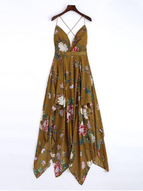 Maxi robe de mouchoir entrecroisée florale - Brun L Mobile