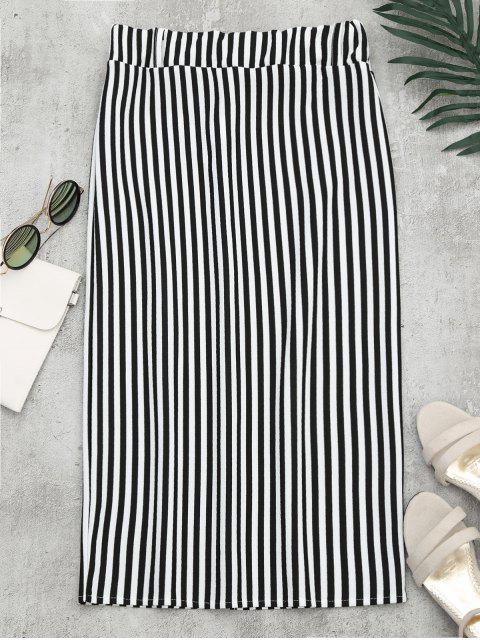 sale High Waist Slit Striped Skirt - STRIPE XL Mobile