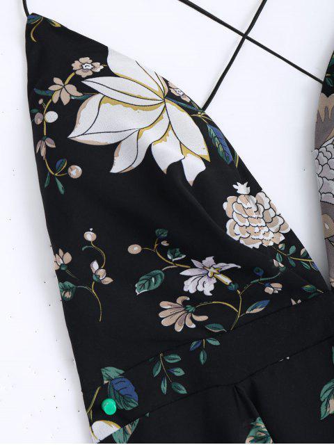 Maxi robe de mouchoir entrecroisée florale - Noir S Mobile