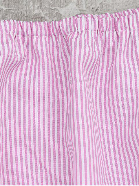 best Embellished Striped Tiered Crop Blouse - PINK S Mobile