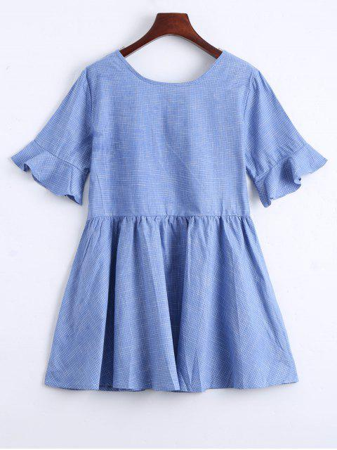 fancy Ruffle Hem Checked Bowtie Dress - LIGHT BLUE S Mobile