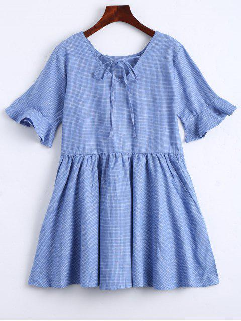 sale Ruffle Hem Checked Bowtie Dress - LIGHT BLUE L Mobile