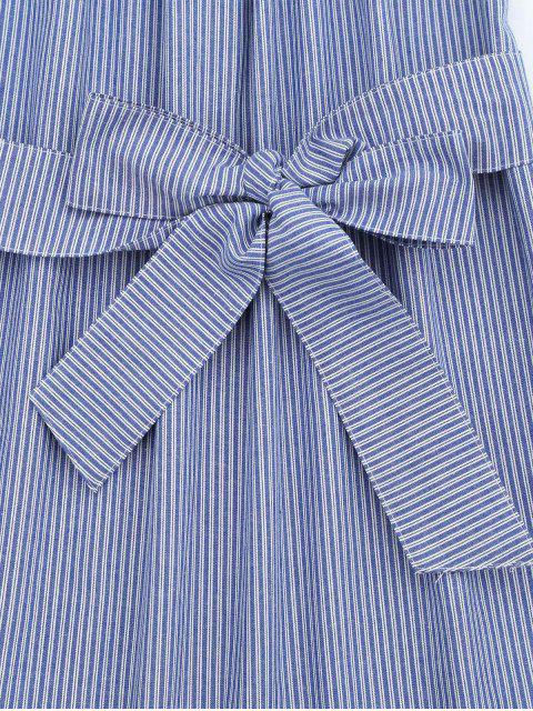 hot Off The Shoulder Striped Belted Dress - STRIPE L Mobile