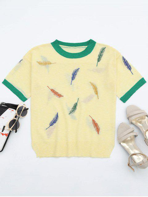 lady Leaves Patchwork Short Sleeves Knitted Top - YELLOW ONE SIZE Mobile