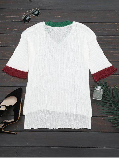 online V Neck Drop Shoulder Knitted Top - WHITE ONE SIZE Mobile