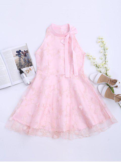 Flare Kleid mit Mesh Einsatz und Schleifedetail - Pink XL  Mobile