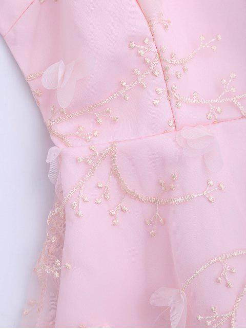 latest Mesh Panel Bowknot Embellished Flare Dress - PINK S Mobile