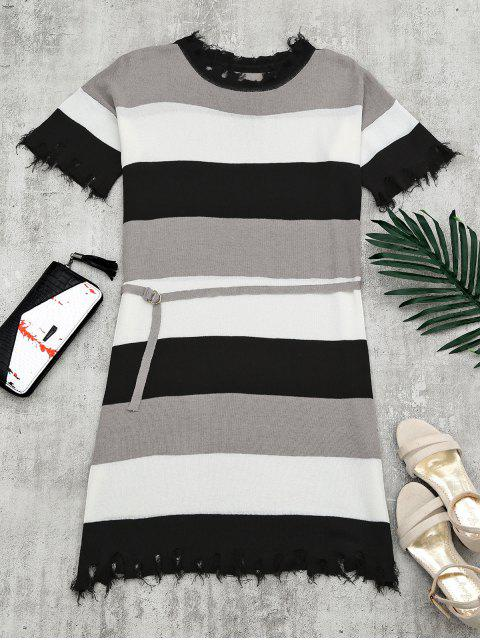 Robe Tricotée à Ceinture Rayée Bord Déchiré - Noir TAILLE MOYENNE Mobile