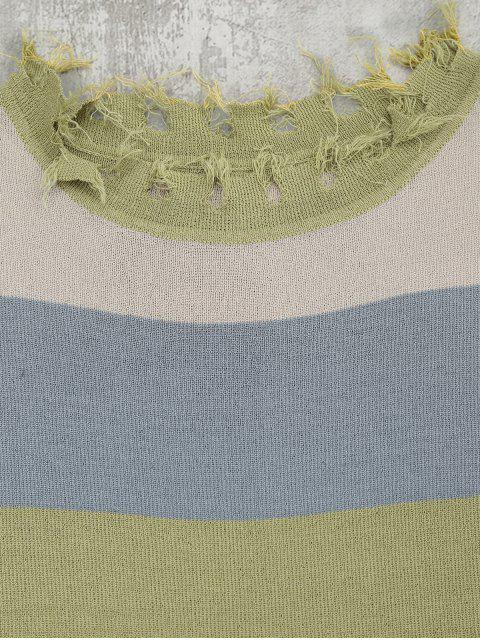 Contraste Ripped Hem Belted Tricotée - Vert Olive   TAILLE MOYENNE Mobile