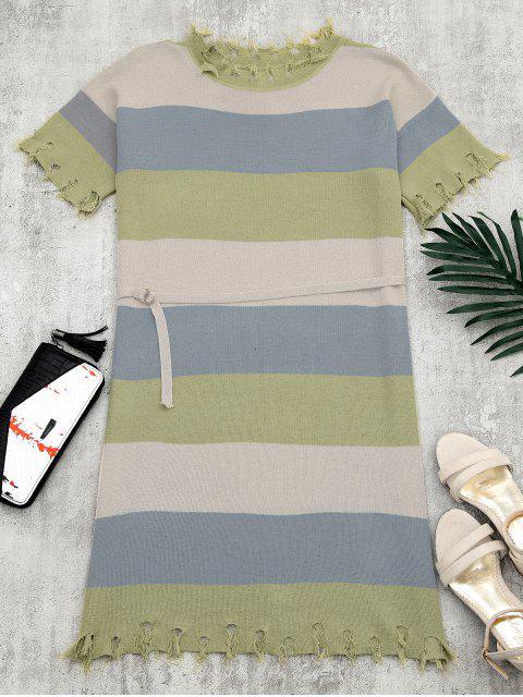 Kontrastes Strickkleid mit Gürtel und Fransen - OLIVE GREEN Eine Größe Mobile